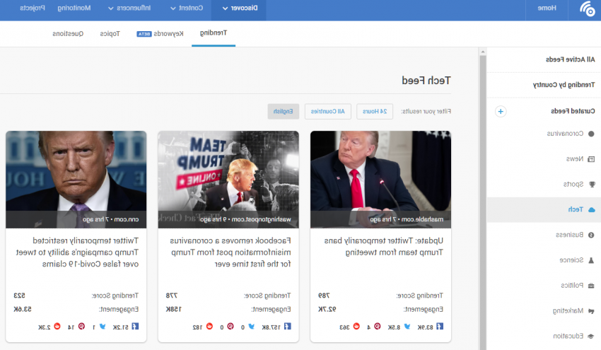 How to find trend在g news stories on buzzsumo by subject